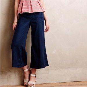 Anthro • Level 99 Wide Leg Flare Linen Pants